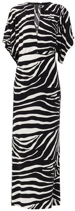 Norma Kamali Waterfall-sleeve Zebra-print Maxi Dress - Animal