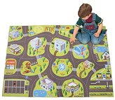 """YJ.GWL Large Kids Road Play Rugs, City Life Learning Carpet Non-Slip Game Mats for Toy Cars and Trucks , 55"""" x 78"""" Children Playing Mat For Bedroom Playroom"""