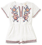 Blu Pepper Big Girls 7-16 Embroidered Short-Sleeve Romper