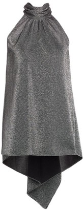 Halston Mockneck Metallic Knit High-Low Top
