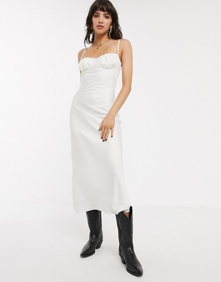 Jagger And Stone Jagger & Stone midi slip dress with strappy back and structured top in satin