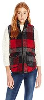 My Michelle Juniors' Plaid Quilted Vest with Suede Trim and Gun Metal Trim Details