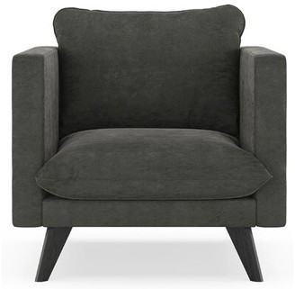 "Corrigan Studio Cowgill 25.25"" Armchair Fabric: Charcoal 100% Polyester, Finish: Black"