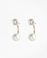 Brooks Brothers Pearl and Crystal Front-Back Earrings