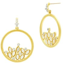 Freida Rothman Fleur Bloom Cluster Open Circle Drop Earrings in 14K Gold-Plated & Rhodium-Plated Sterling Silver