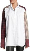 Helmut Lang Plaid-Patchwork Cotton Poplin Shirt