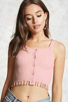 Forever 21 Contemporary Frayed Ribbed Top