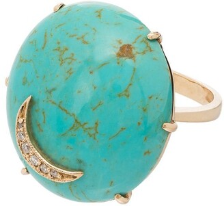 Andrea Fohrman 14kt yellow gold Nebula turquoise diamond ring