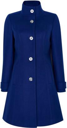 Wallis PETITE Blue Faux Wool Funnel Neck Coat