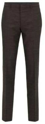 BOSS Slim-fit trousers in a melange virgin-wool blend