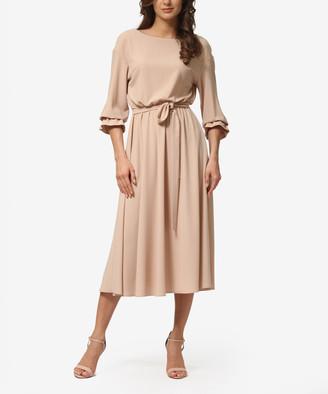 LADA LUCCI Women's Career Dresses Sand - Sand Ruffle-Sleeve Tie-Waist A-Line Dress - Women & Plus