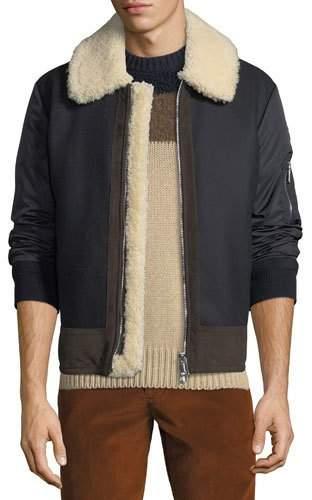 Moncler Men's Plovan Shearling-Trim Bomber Jacket