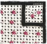 Twin-Set branded rose print frayed edge scarf