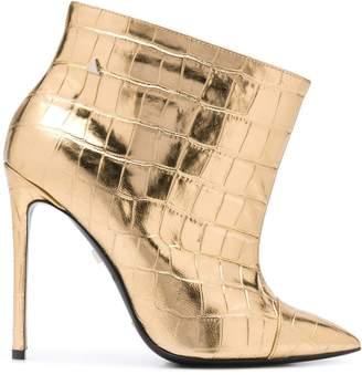 Grey Mer Look Crok embossed ankle boots