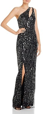 Aidan Mattox One-Shoulder Column Gown