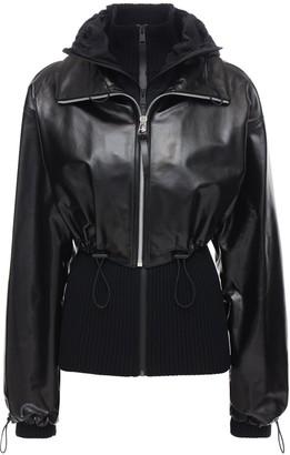 Bottega Veneta Patent Leather Jacket W/ Knit Cardigan