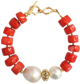 Farra Rondelle Orange Coral With Natural Baroque Pearls Bracelet