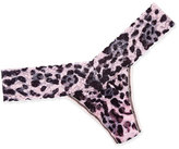 Hanky Panky Pretty Leopard Signature Lace Low-Rise Thong, Pink/Black
