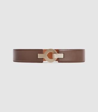 Reiss Cece - Leather Metal Clasp Waist Belt in Brown