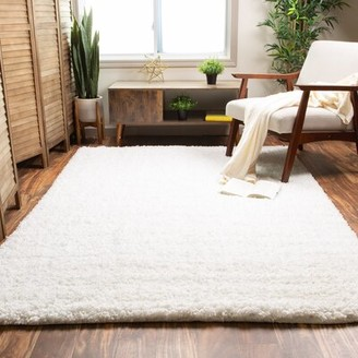 Harriet Bee Ambriz Handmade Shag White Area Rug Rug Size: Rectangle 5' x 7'