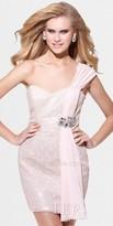 Xscape Evenings Chiffon Sash One Shoulder Drape Dresses by Terani Couture
