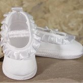 Little Things Mean a Lot Baby Girls Matte Satin Pleated Ribbon Christening Shoes 2