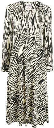 Baum und Pferdgarten V-neck wood print dress