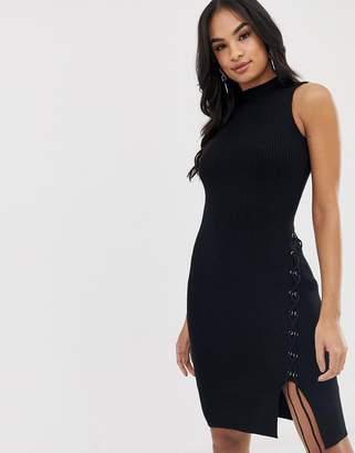 Lipsy eyelet midi dress-Black