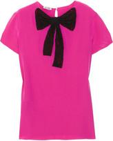 Miu Miu Lace-bow silk top