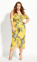 City Chic Ruffle Garden Dress - buttercup