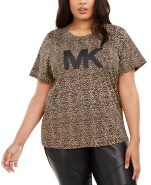 Michael Kors Michael Plus Size Animal-Print Logo T-Shirt
