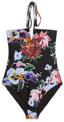 Arket Halterneck Floral Swimsuit