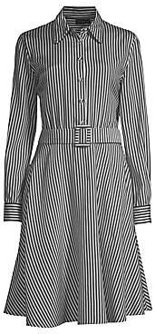 Piazza Sempione Women's Striped Belted Fit-&-Flare Dress