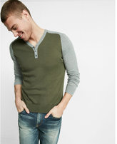 Express cotton color block henley sweater