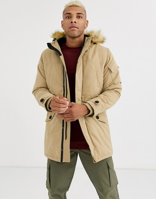 Bershka parka with borg lined hood and detachable fur in beige