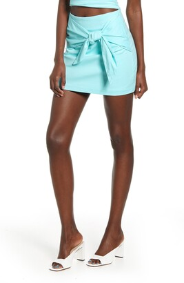 4SI3NNA the Label Adalyn Tie Front Cotton Blend Miniskirt