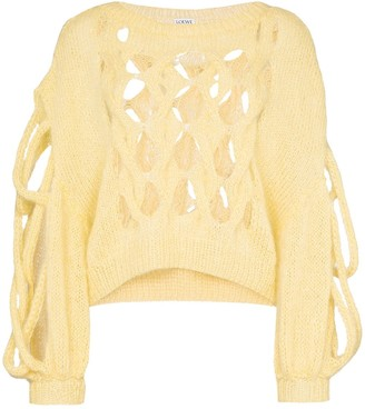 Loewe Hole detail cable knit jumper