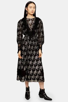 Topshop Womens Black Coupe Lace Midi Dress - Black