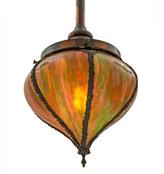 Rejuvenation Rare Japanned Copper Victorian Pendant by Handel