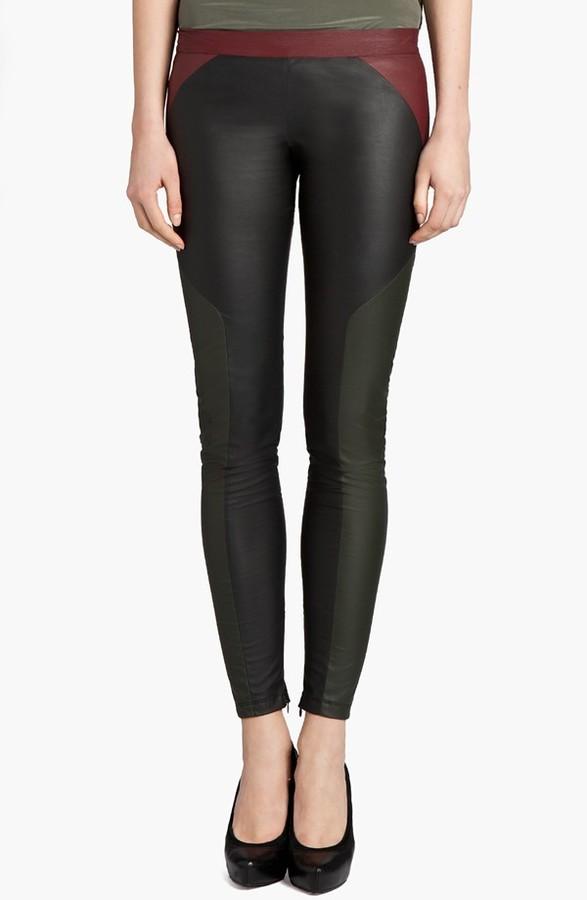 MSGM Tricolor Faux Stretch Leather Leggings