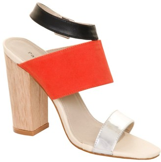 Paper Dolls Footwear Red Suede & Metallic Peep Toe Wooden Heel