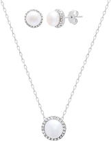Bliss Pearl & Cubic Zirconia Halo Pendant Necklace & Stud Earrings