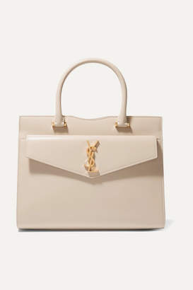 Saint Laurent Cabas Uptown Glossed-leather Tote - Beige