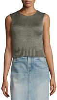 Helmut Lang Cropped Silk Shell Tank, Thyme