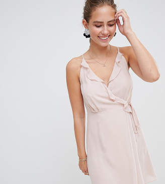 Miss Selfridge dress with frill wrap front and tie side detail-Pink