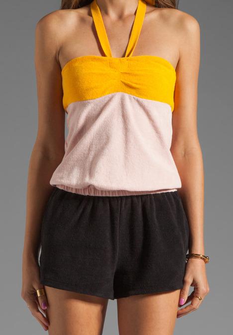 Sonia Rykiel SONIA by Color Block Romper in Pink/Mango/Black