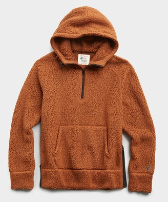 Todd Snyder + Champion Polartec Sherpa Hoodie in Burnt Toffee