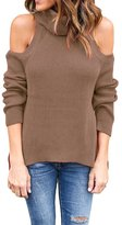 Eiffel Store Eiffel Women's Turtleneck Open Shoulder Cable Ribbed Knit Pullover Sweater Top Blouse