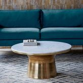 west elm Marble-Topped Pedestal Coffee Table - White Marble/Antique Brass