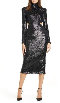 Cinq à Sept Daniela Cutout Long Sleeve Sequin Dress